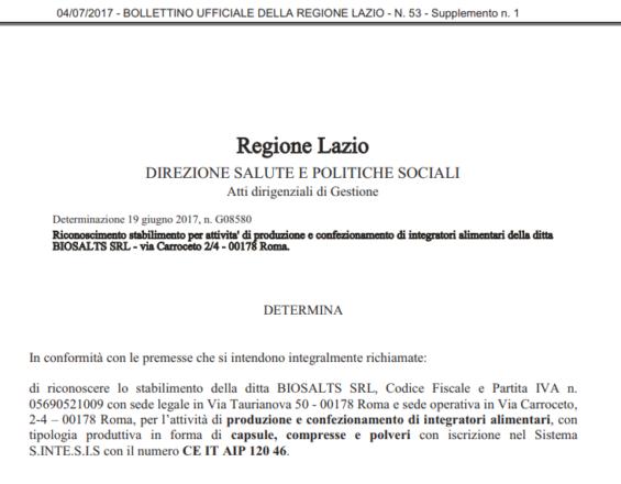 Regione Lazio Bollettino Ufficiale con autorizzazione attività