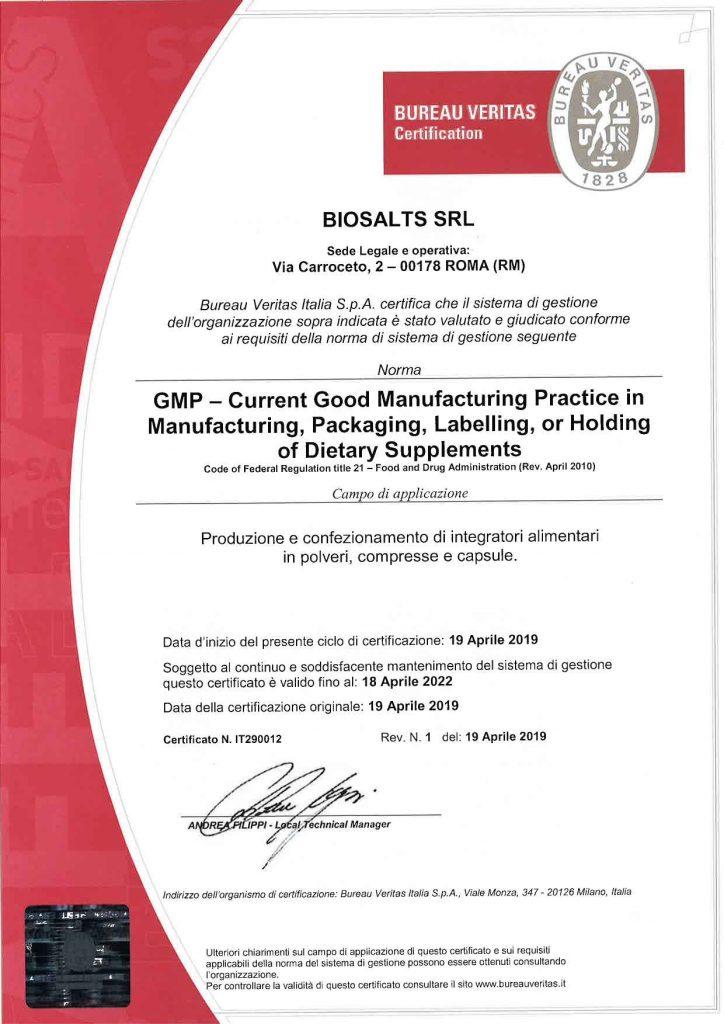 Certificazione GMP rilasciata all'azienda Biosalts