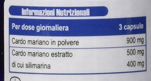 etichetta nutrizionale cardo mariano titolato in silimarina